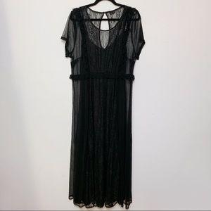 Torrid Black Lace Overlay Short Sleeve Maxi Dress